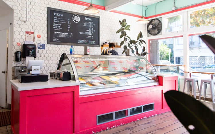 Interior image of Garden Creamery, a top San Francisco ice cream shop.